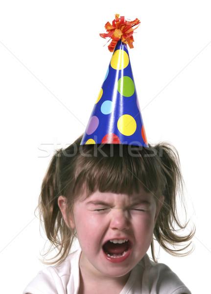 Kislány dob dühroham gyermek visel születésnap Stock fotó © tobkatrina