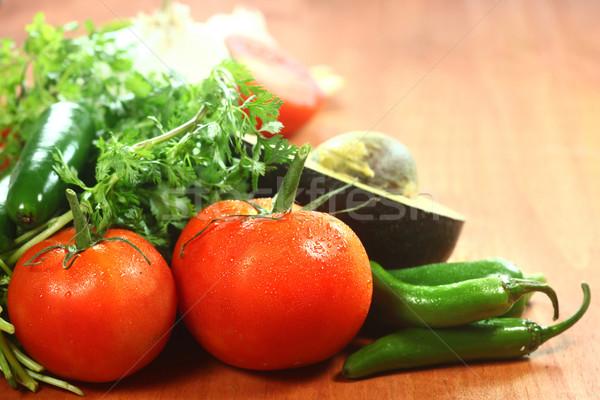 Salsa hozzávalók avokádó paradicsomok paprikák étel Stock fotó © tobkatrina