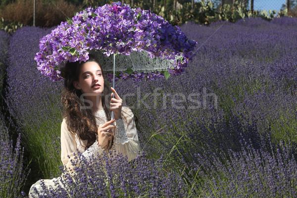 かなり 若い女の子 屋外 ラベンダー 花畑 美しい ストックフォト © tobkatrina