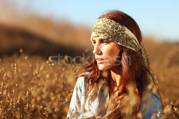 美人 フィールド 夏場 小さな ファッション 太陽 ストックフォト © tobkatrina