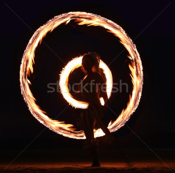 Fire Dance on the Beach at Night Stock photo © tobkatrina