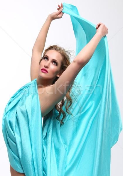 女性 青 ファブリック 美人 少女 ストックフォト © tobkatrina