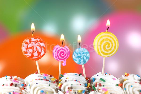 празднования шаров свечей торт С Днем Рождения синий Сток-фото © tobkatrina