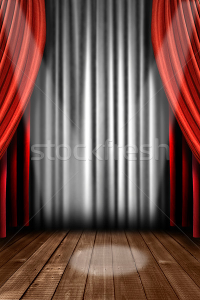 Vertical Stage Drapes With Spot Light Stock photo © tobkatrina