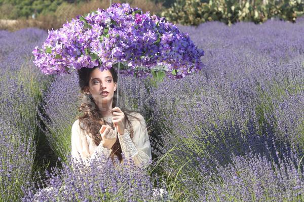 Joli jeune fille extérieur lavande champ de fleurs belle Photo stock © tobkatrina