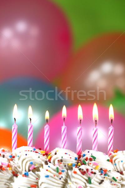 ストックフォト: お祝い · 風船 · キャンドル · ケーキ · お誕生日おめでとうございます · 青