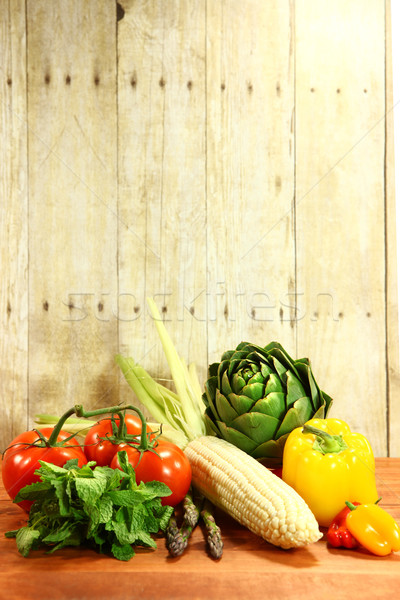 Grocery Produce Items on a Wooden Plank Stock photo © tobkatrina