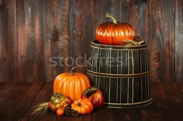 秋 シーン カボチャ 木材 素朴な グランジ ストックフォト © tobkatrina
