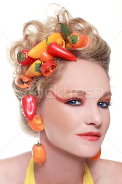 Creatieve afbeelding paprika geïntegreerd haren voedsel Stockfoto © tobkatrina