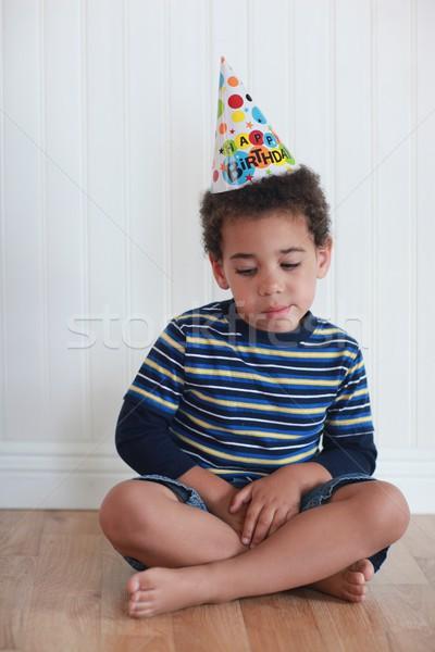 Toddler Boy With Birthday Hat Stock photo © tobkatrina