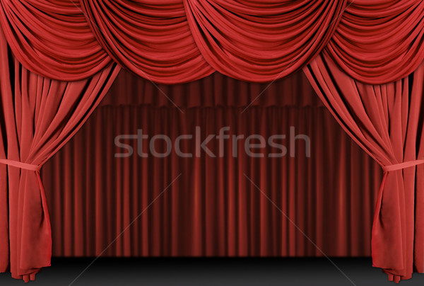 Stock photo: Old fashioned, elegant theater stage with velvet curtains.