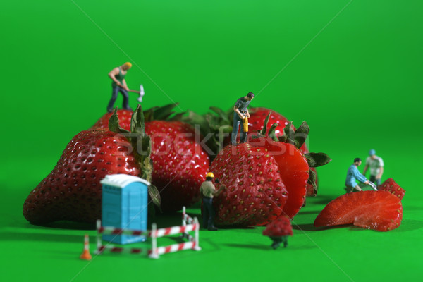 Stock photo: Construction Workers in Conceptual Food Imagery With Strawberrie