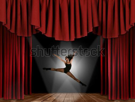 Ballet Dancer on Stage With Drapes Stock photo © tobkatrina