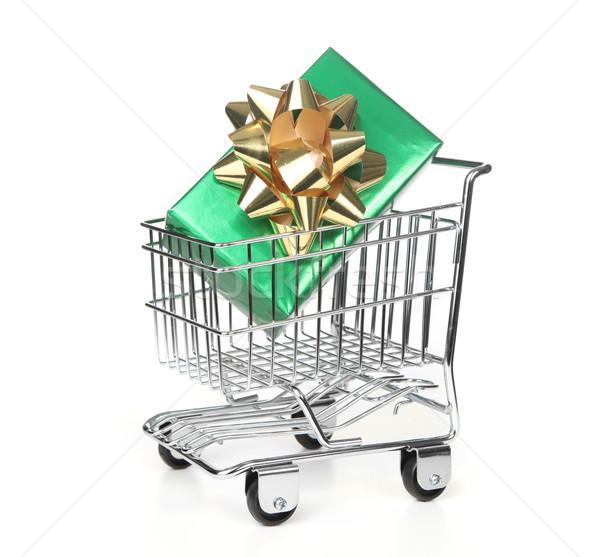 Shopping Cart With Wrapped Holiday Gift Stock photo © tobkatrina