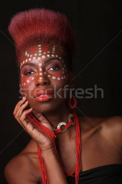 表現の アフリカ系アメリカ人 女性 劇的な 照明 美しい ストックフォト © tobkatrina