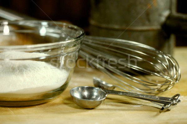 Bread Baking Ingredients on a Wooden Background Stock photo © tobkatrina