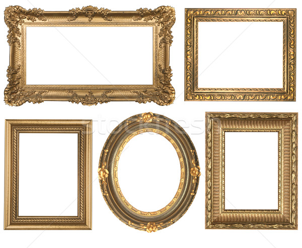 Vintage Detailed Gold Empty Oval and Square Picure Frames Stock photo © tobkatrina