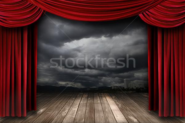 Brilhante etapa vermelho veludo teatro cortinas Foto stock © tobkatrina