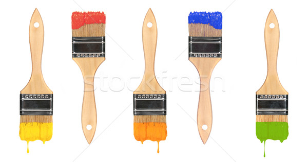 Multi Colored Wet Paint Brushes Stock photo © tobkatrina