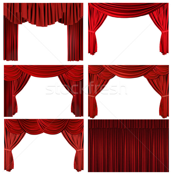 Dramatic red old fashioned elegant theater stage elements Stock photo © tobkatrina