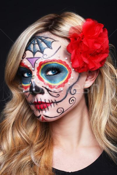 Beautiful Blonde Woman With Painted Sugar Skull Art Stock photo © tobkatrina