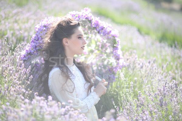 ストックフォト: かなり · 若い女の子 · 屋外 · ラベンダー · 花畑 · 美しい