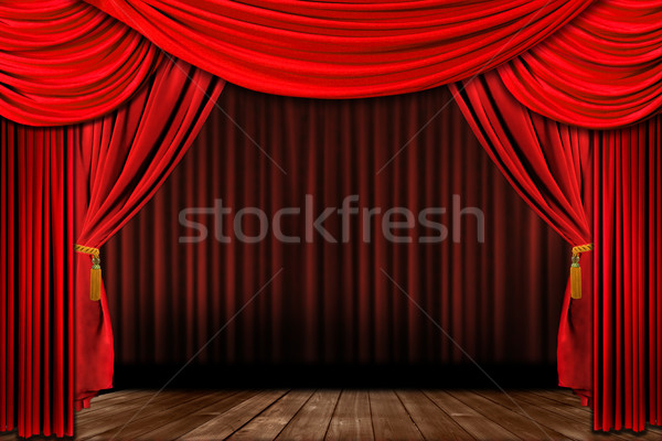Dramatic red old fashioned elegant theater stage Stock photo © tobkatrina