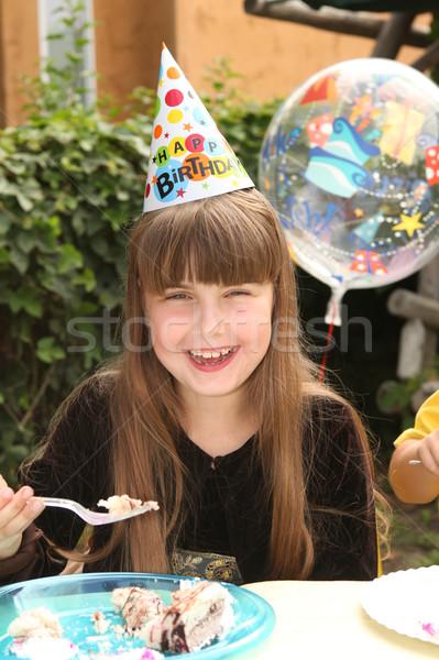 女の子 祝う 歳の誕生日 幸せ 若い女の子 食べ ストックフォト © tobkatrina