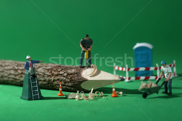 Construction Workers in Conceptual Imagery With Pencil Stock photo © tobkatrina