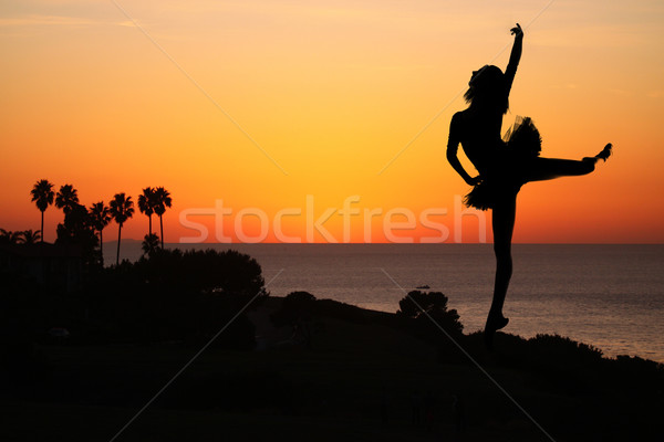 Ballet Dancer at Sunset Outdoors Stock photo © tobkatrina