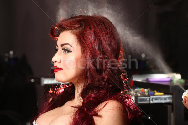 Hairspray Being Used On A Customer Stock photo © tobkatrina