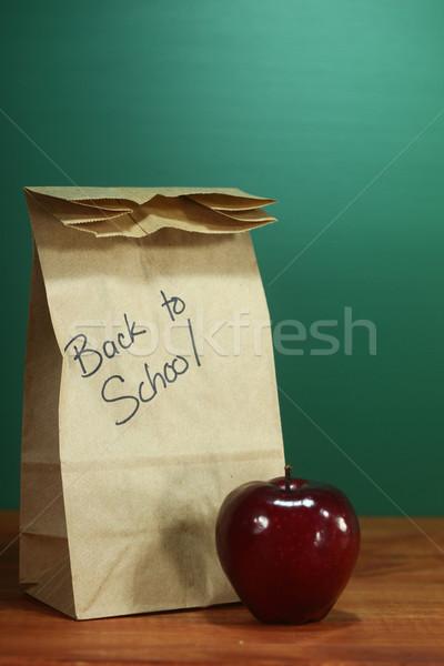 Zdjęcia stock: Szkoły · obiad · worek · posiedzenia · nauczyciel · biurko