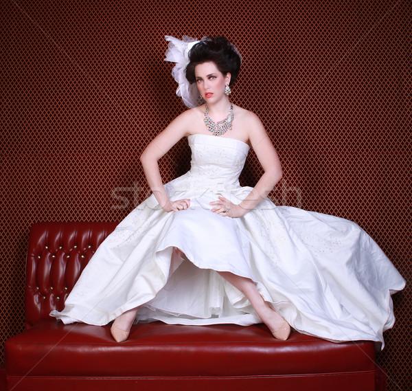 劇的な 結婚式 ファッション 美しい 花嫁 楽しい ストックフォト © tobkatrina