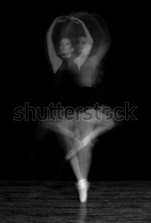 Black and White Intentional Blur of Ballerina Spinning Stock photo © tobkatrina