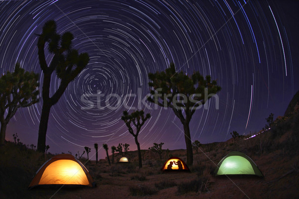 Stock photo: Light Painted Landscape of Camping and Stars