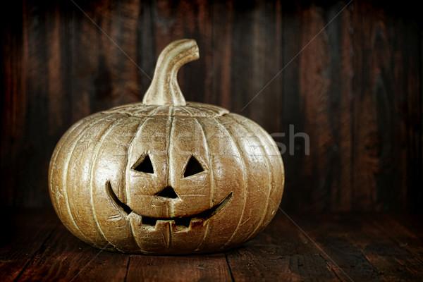 древесины Гранж тыква фонарь лице Сток-фото © tobkatrina