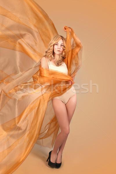 Stock fotó: Nő · réz · folyik · szövet · gyönyörű · nő · lány