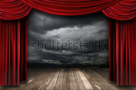 Red Theater Curtain Drapes With Desert Mountain Background Stock photo © tobkatrina