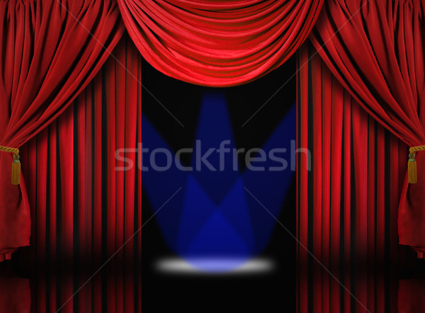 Velvet Theater Stage Drape Curtains With Blue Spotlights Stock photo © tobkatrina