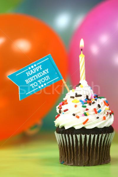 お祝い 風船 キャンドル ケーキ お誕生日おめでとうございます 青 ストックフォト © tobkatrina