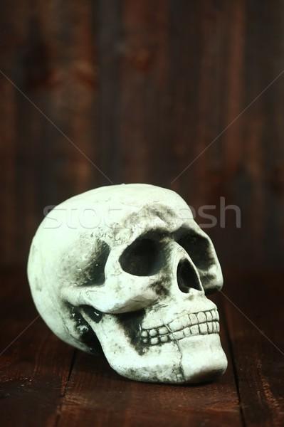 Foto stock: Crânio · madeira · grunge · assustador · halloween · morte