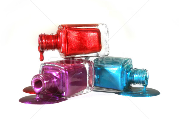 Stacked Fingernail Polish of Red Blue and Purple Stock photo © tobkatrina