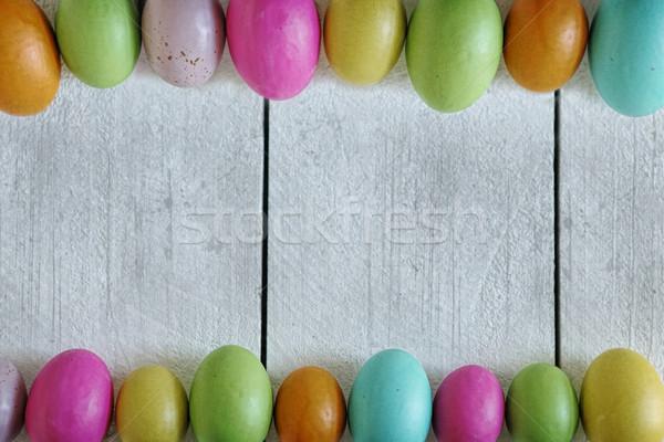 Pasen voorjaar oud hout gekleurde eieren natuur achtergrond Stockfoto © tobkatrina