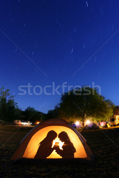 Children Camping at Night in a Tent Stock photo © tobkatrina