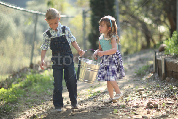 Kids Working on the Farm  With a Pail Stock photo © tobkatrina