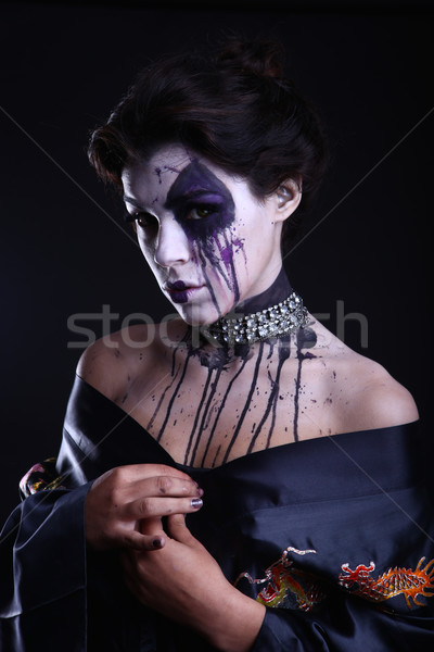 Gótico expressivo menina escuro mulher cara Foto stock © tobkatrina