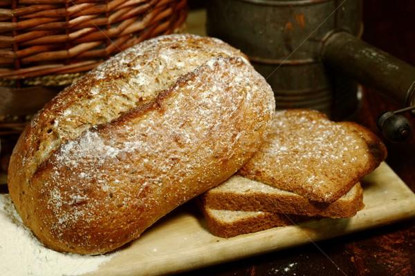 新鮮な パン 木製 食品 ストックフォト © tobkatrina