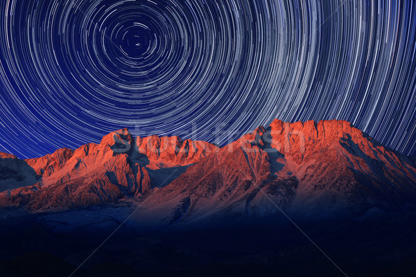 Night Exposure Star Trails of the Sky in Bishop California Stock photo © tobkatrina