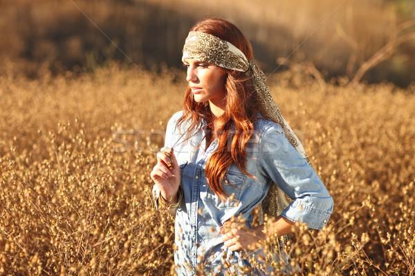 Stockfoto: Mooie · vrouw · veld · zomertijd · jonge · handen · gezicht
