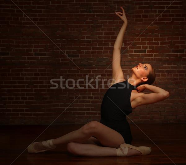Ballerina Posing in Studio on Brick Background Stock photo © tobkatrina